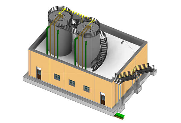 A 3D CAD drawing of the MagPrex™ installation at the Central Valley Water Reclamation Facility.