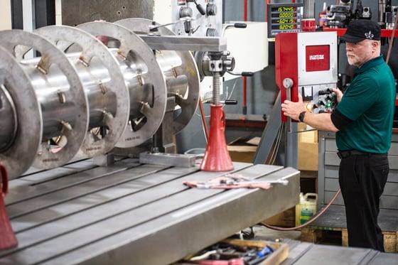 Centrifuge Repair Machine Shop Working On Boring Mill